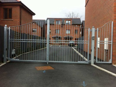 large steel security gate