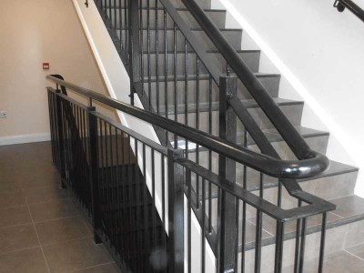black steel inturnal stair railings